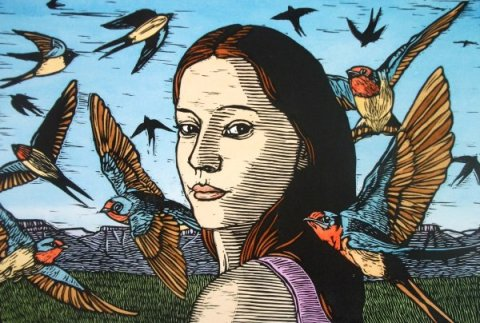 Girl with Swallows-Theo Paul Vorster